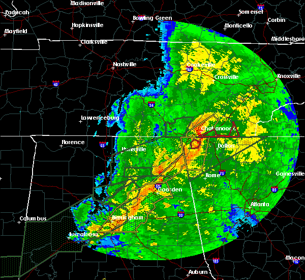 Radar Image for Severe Thunderstorms near Broomtown, AL at 4/12/2020 10:27 PM CDT