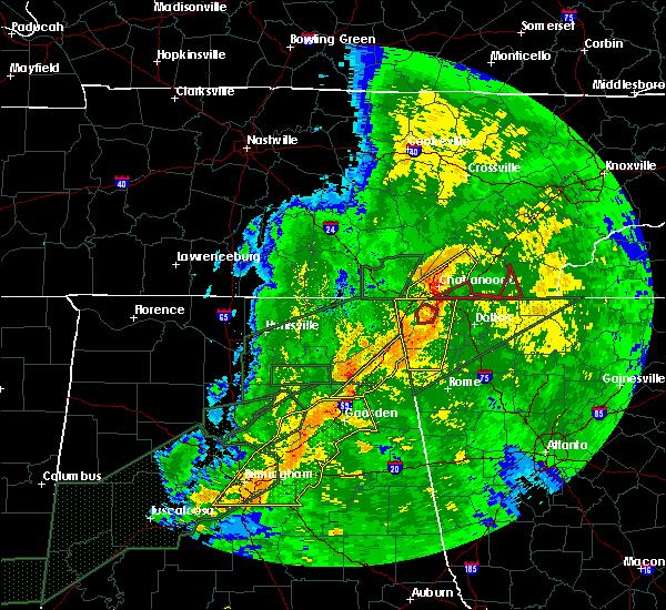 Radar Image for Severe Thunderstorms near Cedar Bluff, AL at 4/12/2020 10:27 PM CDT