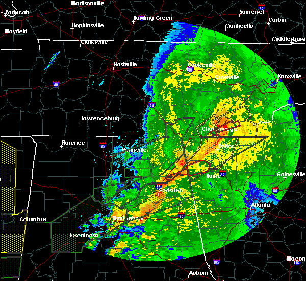 Radar Image for Severe Thunderstorms near Lookout Mountain, AL at 4/12/2020 10:50 PM CDT