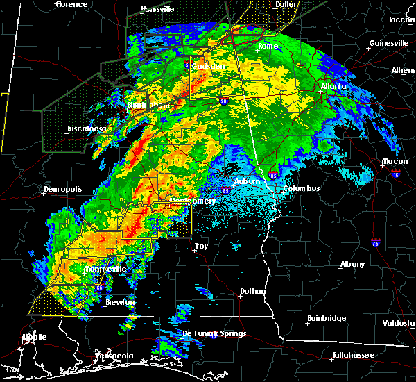 Radar Image for Severe Thunderstorms near Montgomery, AL at 4/12/2020 10:55 PM CDT