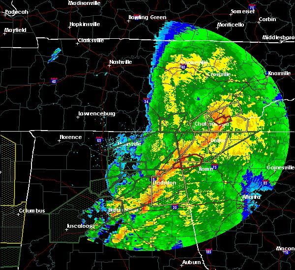 Radar Image for Severe Thunderstorms near Menlo, GA at 4/12/2020 11:57 PM EDT