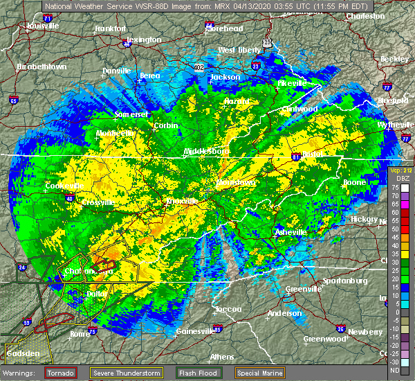 Radar Image for Severe Thunderstorms near Athens, TN at 4/12/2020 11:59 PM EDT