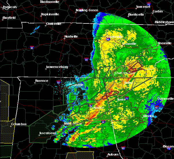 Radar Image for Severe Thunderstorms near Jacksonville, AL at 4/12/2020 11:02 PM CDT