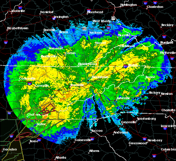 Radar Image for Severe Thunderstorms near Tellico Plains, TN at 4/13/2020 12:16 AM EDT