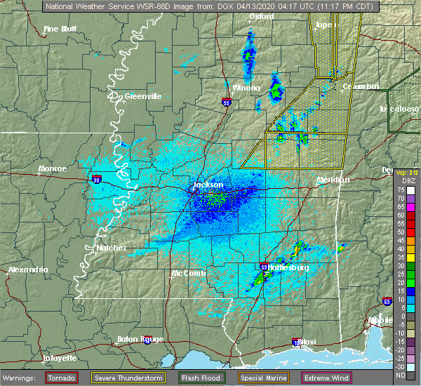 Radar Image for Severe Thunderstorms near Pearl River, MS at 4/12/2020 11:27 PM CDT