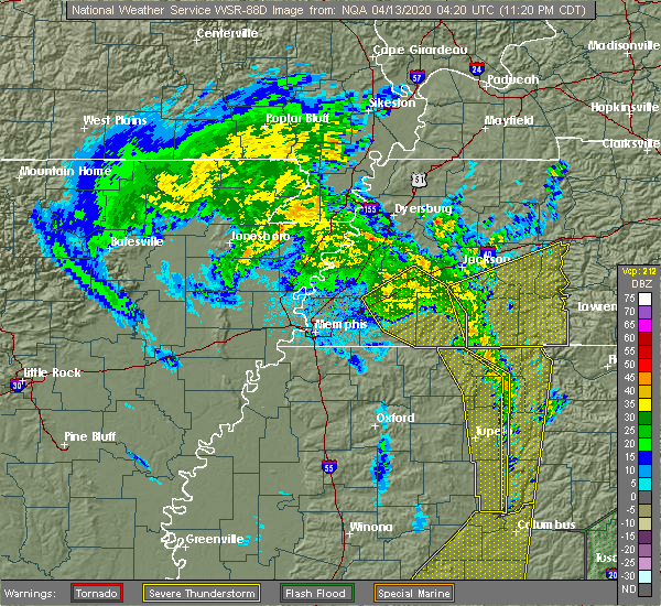 Radar Image for Severe Thunderstorms near Mason, TN at 4/12/2020 11:26 PM CDT