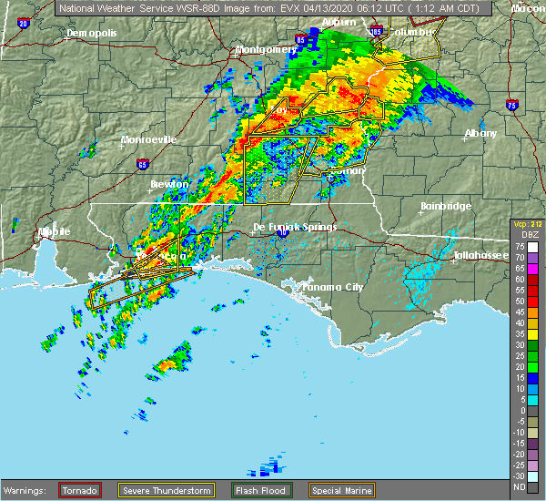 Radar Image for Severe Thunderstorms near Midway, FL at 4/13/2020 1:14 AM CDT