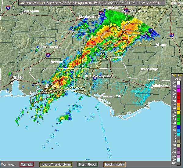 Radar Image for Severe Thunderstorms near Ponce de Leon, FL at 4/13/2020 1:27 AM CDT