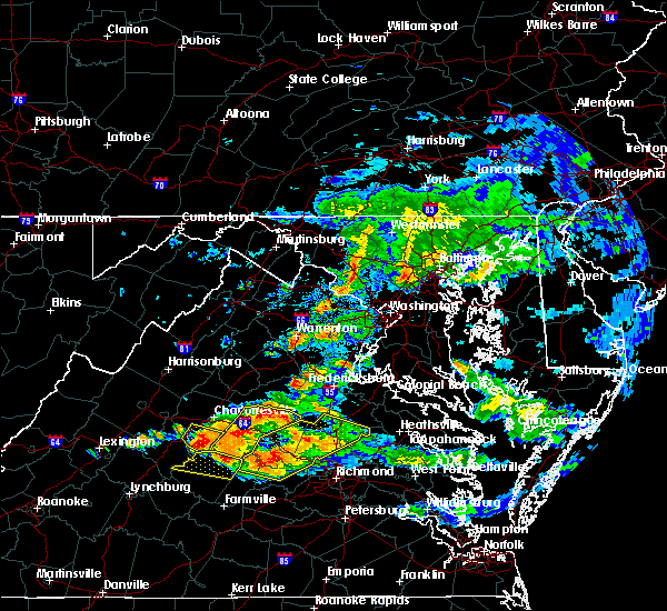 Radar Image for Severe Thunderstorms near Palmyra, VA at 6/25/2015 9:11 PM EDT