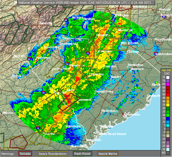 Radar Image for Severe Thunderstorms near Chapin, SC at 4/13/2020 5:37 AM EDT