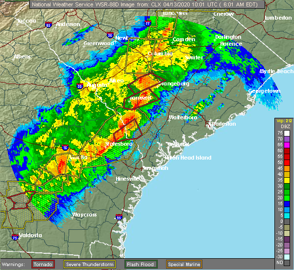Radar Image for Severe Thunderstorms near Fairfax, SC at 4/13/2020 6:05 AM EDT