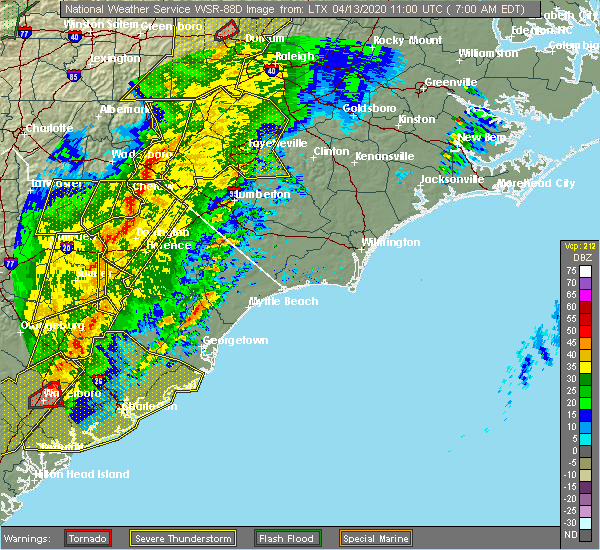 Radar Image for Severe Thunderstorms near Nichols, SC at 4/13/2020 7:07 AM EDT