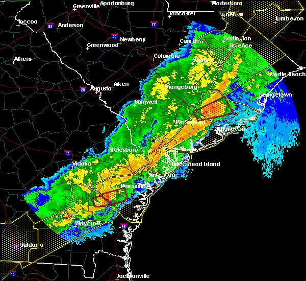 Radar Image for Severe Thunderstorms near Hinesville, GA at 4/13/2020 7:36 AM EDT