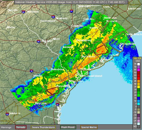 Radar Image for Severe Thunderstorms near Moncks Corner, SC at 4/13/2020 7:49 AM EDT