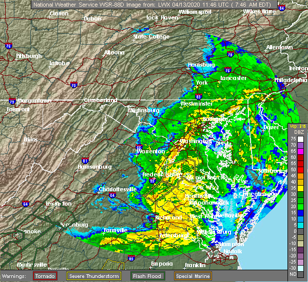 Radar Image for Severe Thunderstorms near Passapatanzy, VA at 4/13/2020 7:53 AM EDT