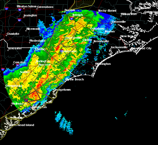 Radar Image for Severe Thunderstorms near Pembroke, NC at 4/13/2020 7:56 AM EDT