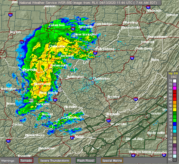Radar Image for Severe Thunderstorms near Portsmouth, OH at 4/13/2020 7:55 AM EDT