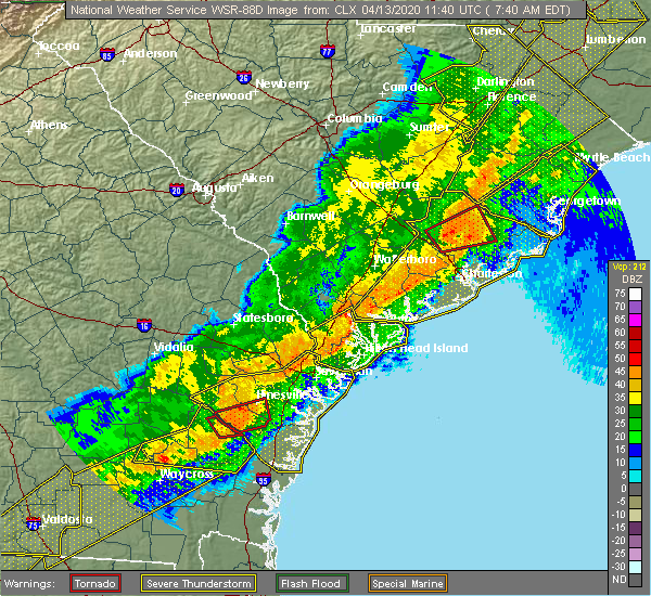 Radar Image for Severe Thunderstorms near Ravenel, SC at 4/13/2020 8:03 AM EDT