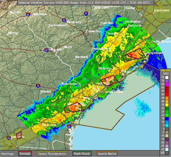 Radar Image for Severe Thunderstorms near Midway, GA at 4/13/2020 8:09 AM EDT