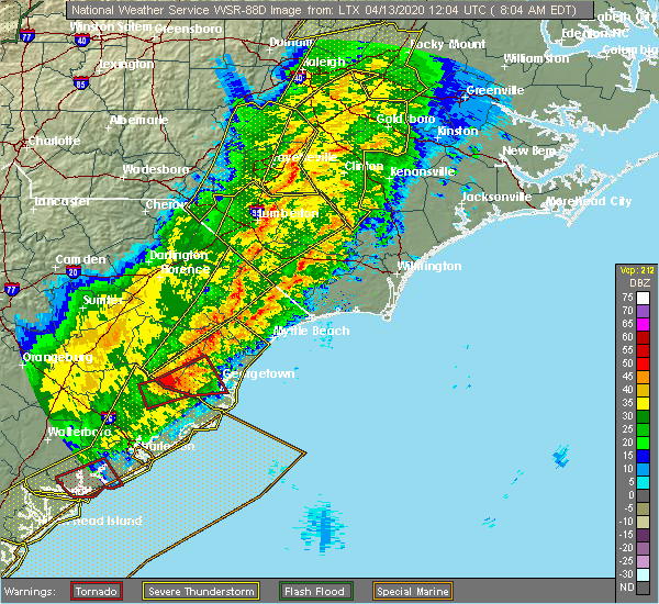 Radar Image for Severe Thunderstorms near Sandyfield, NC at 4/13/2020 8:13 AM EDT