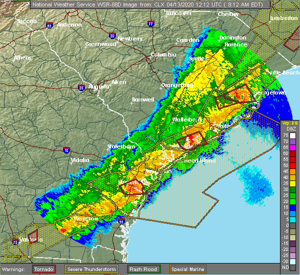 Radar Image for Severe Thunderstorms near Midway, GA at 4/13/2020 8:16 AM EDT