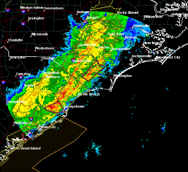 Radar Image for Severe Thunderstorms near Lake Waccamaw, NC at 4/13/2020 8:19 AM EDT