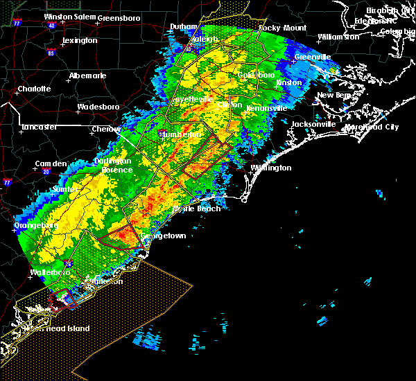 Radar Image for Severe Thunderstorms near Sandyfield, NC at 4/13/2020 8:22 AM EDT