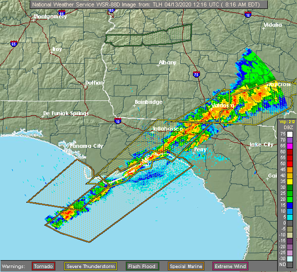 Radar Image for Severe Thunderstorms near Perry, FL at 4/13/2020 8:24 AM EDT