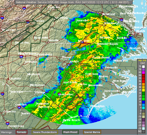 Radar Image for Severe Thunderstorms near Mount Olive, NC at 4/13/2020 8:28 AM EDT