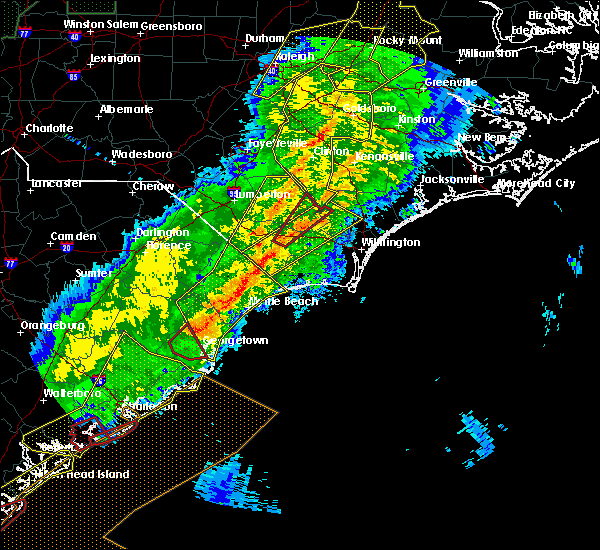 Radar Image for Severe Thunderstorms near Lake Waccamaw, NC at 4/13/2020 8:31 AM EDT