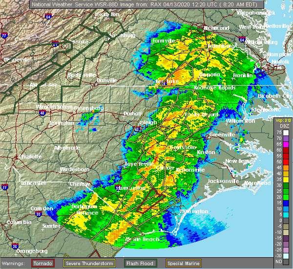 Radar Image for Severe Thunderstorms near Wallace, NC at 4/13/2020 8:32 AM EDT