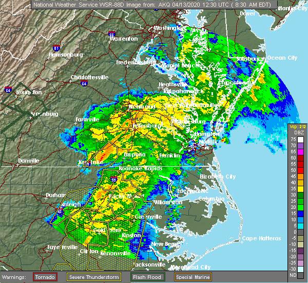Radar Image for Severe Thunderstorms near Brodnax, VA at 4/13/2020 8:36 AM EDT