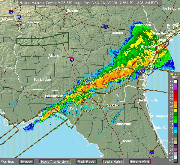 Radar Image for Severe Thunderstorms near Lake City, FL at 4/13/2020 8:38 AM EDT