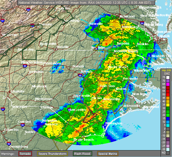 Radar Image for Severe Thunderstorms near Mount Olive, NC at 4/13/2020 8:42 AM EDT