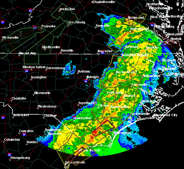 Radar Image for Severe Thunderstorms near Mount Olive, NC at 4/13/2020 8:58 AM EDT