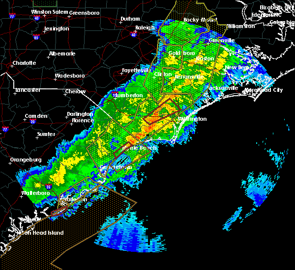 Radar Image for Severe Thunderstorms near Sandyfield, NC at 4/13/2020 9:05 AM EDT
