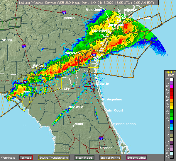 Radar Image for Severe Thunderstorms near Fargo, GA at 4/13/2020 9:11 AM EDT