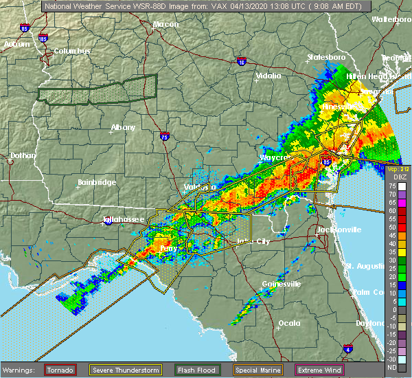 Radar Image for Severe Thunderstorms near Fargo, GA at 4/13/2020 9:14 AM EDT