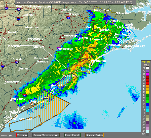 Radar Image for Severe Thunderstorms near Sandyfield, NC at 4/13/2020 9:27 AM EDT