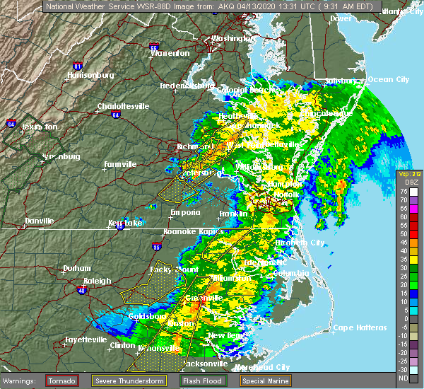Radar Image for Severe Thunderstorms near West Point, VA at 4/13/2020 9:37 AM EDT