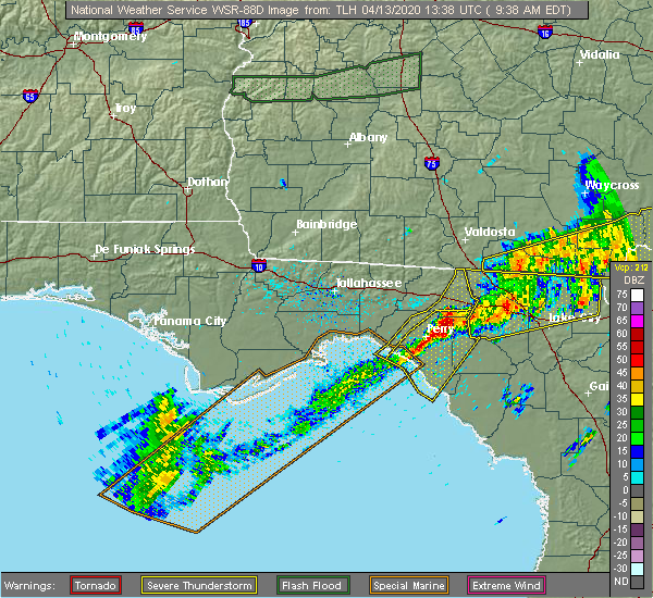 Radar Image for Severe Thunderstorms near Perry, FL at 4/13/2020 9:41 AM EDT