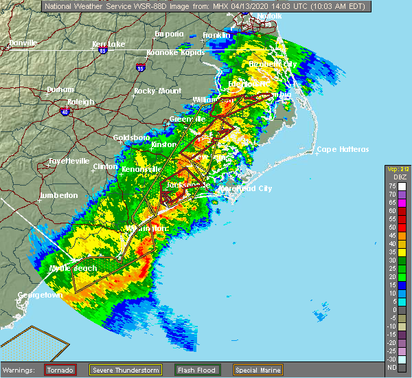 Radar Image for Severe Thunderstorms near Bath, NC at 4/13/2020 10:07 AM EDT