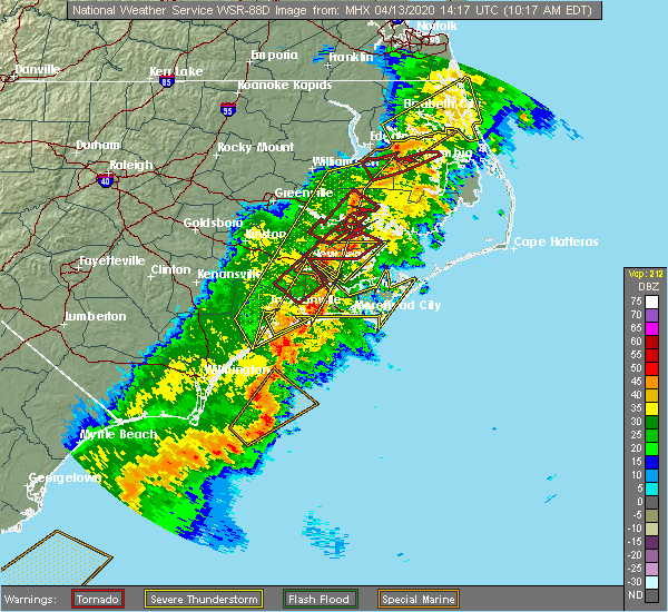 Radar Image for Severe Thunderstorms near Minnesott Beach, NC at 4/13/2020 10:23 AM EDT