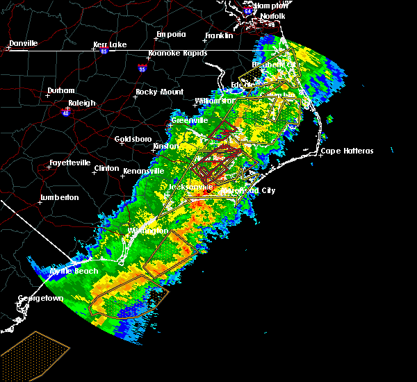 Radar Image for Severe Thunderstorms near Minnesott Beach, NC at 4/13/2020 10:36 AM EDT