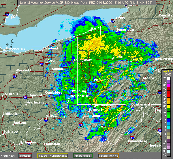 Radar Image for Severe Thunderstorms near Farmington, PA at 4/13/2020 11:21 AM EDT