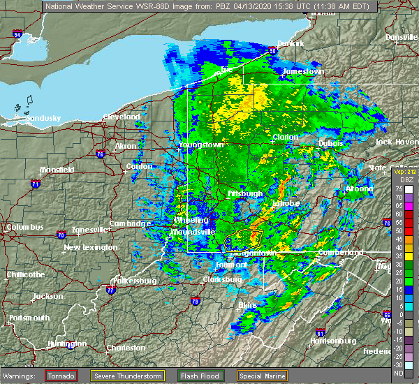 Radar Image for Severe Thunderstorms near Farmington, PA at 4/13/2020 11:39 AM EDT