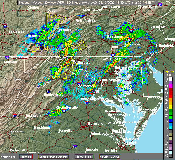 Radar Image for Severe Thunderstorms near Big Pool, MD at 4/13/2020 12:37 PM EDT