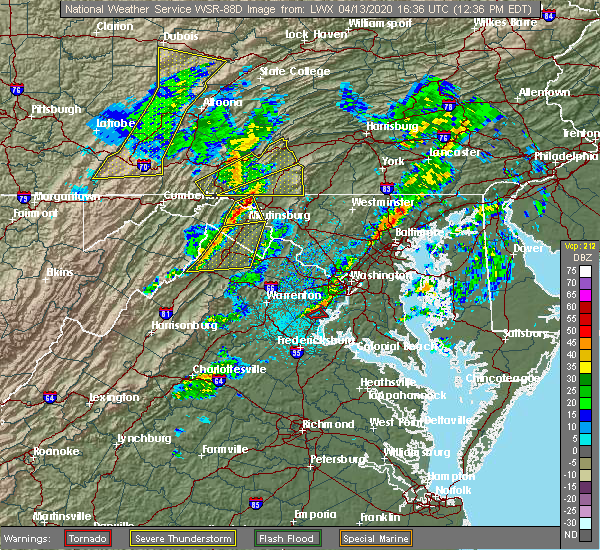 Radar Image for Severe Thunderstorms near Independent Hill, VA at 4/13/2020 12:38 PM EDT