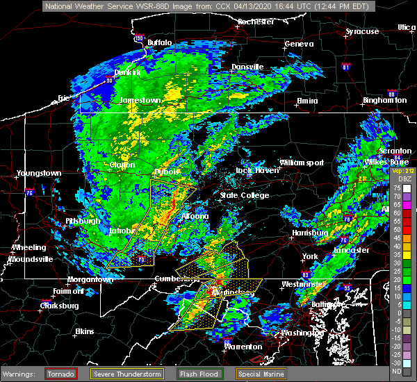 Radar Image for Severe Thunderstorms near Bellefonte, PA at 4/13/2020 12:48 PM EDT