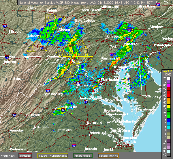 Radar Image for Severe Thunderstorms near Oxon Hill, MD at 4/13/2020 12:49 PM EDT